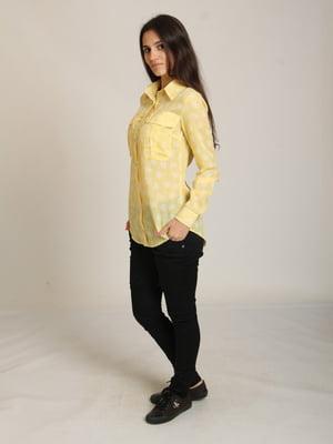 Сорочка жовта в принт | 5794778