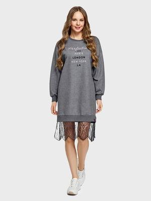 Платье серое с принтом | 5802105