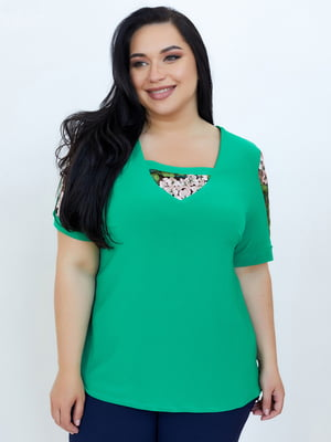 Блуза зелена в принт   5801879