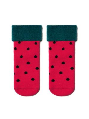 Шкарпетки малинового кольору в горошок | 5699248