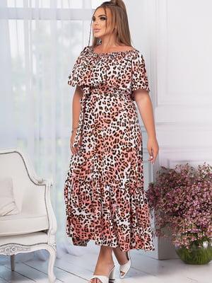 Сукня кольору пудри в анімалістичний принт   5802747