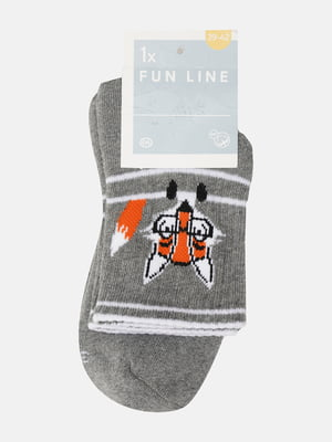 Носки серые в полоску и в принт   5803020