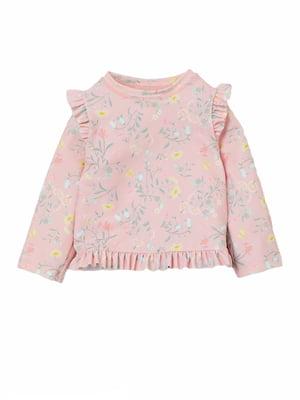 Лонгслив розовый с цветочным принтом | 5804001
