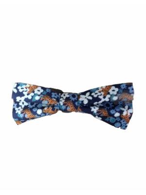Галстук-бабочка синий с комбинированным принтом | 5804701