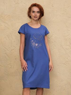 Платье синее с рисунком | 5807098