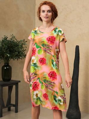 Платье бежевое с принтом | 5807105