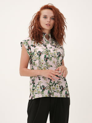 Блуза бежевая с принтом | 5807108