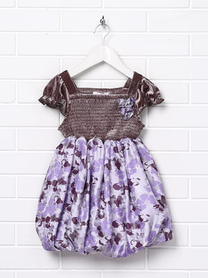 Сукня бузкового кольору в принт | 5787453