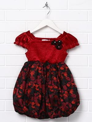 Сукня бордового кольору в принт | 5787454