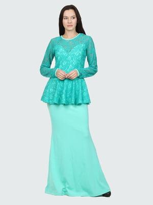 Платье мятного цвета с узором | 5793636