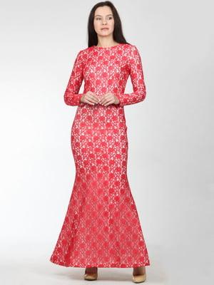 Платье красное с узором | 5793637