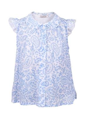Рубашка белая в принт | 5810367