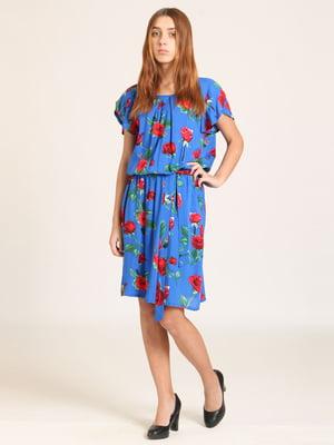 Сукня синя в квітковий принт | 5810561