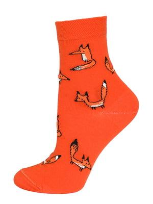 Шкарпетки теракотового кольору в принт | 5698390