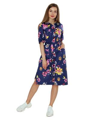 Платье темно-синее в цветочный принт | 5813127