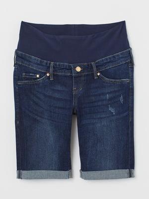 Шорты джинсовые для беременных синие | 5818663