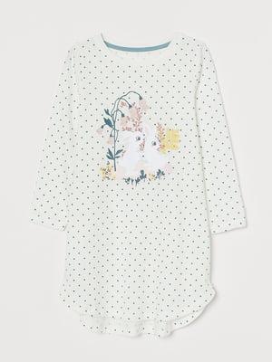 Ночная рубашка белая в горошек, с принтом   5820411