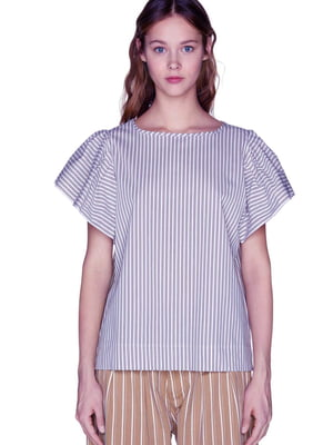 Блуза сіра в смужку | 5819988