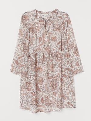 Блуза для беременных белая в цветочный принт   5821030