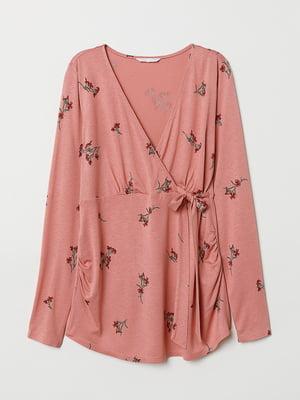 Блуза для беременных розовая в цветочный принт | 5821051