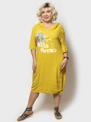 Сукня жовта в принт | 5821941