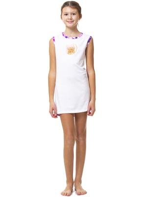 Ночная рубашка белая с принтом   5822679