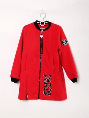 Пальто-бомбер красное с логотипом | 5824062