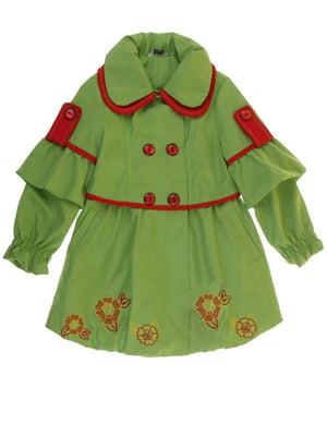 Плащ зеленый с цветочным рисунком   5824071