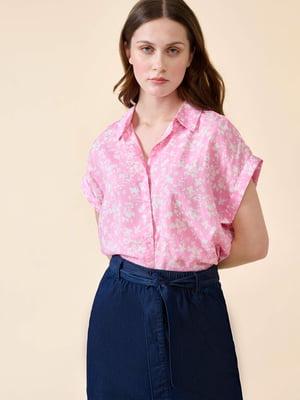 Блуза рожева у квітковий принт | 5807161