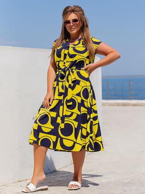 Платье желтое в принт   5826396