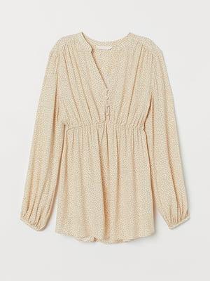 Блуза для беременных кремового цвета в принт   5829956