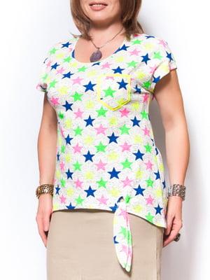 Блуза біла в принт-зірки | 2409819