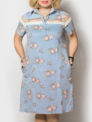 Платье голубое в цветочный принт | 5763854