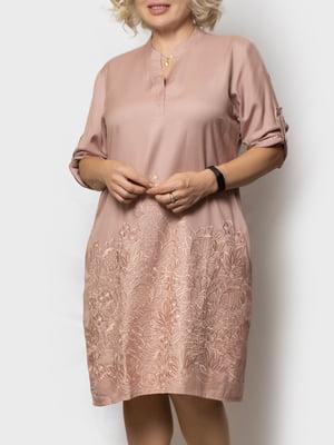 Сукня кольору пудри з візерунком | 5821926
