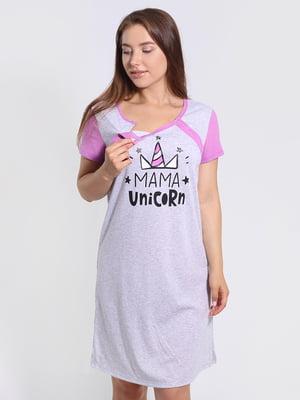 Рубашка ночная серая в принт | 5830618