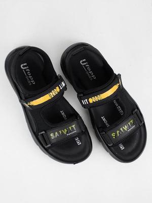Сандалии черные с логотипом | 5831463