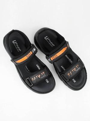 Сандалии черные с логотипом | 5831464