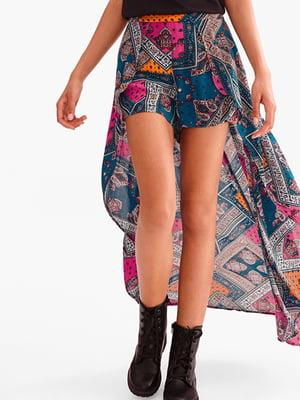 Юбка-шорты комбинированного цвета с орнаментом | 5831031