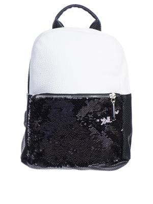 Рюкзак біло-чорний з декором   5834561