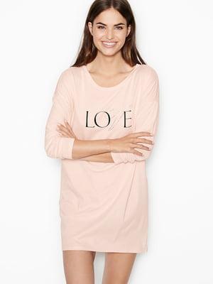 Платье домашнее розовое с логотипом   5845874