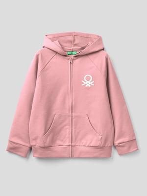 Толстовка розовая с фирменной вышивкой | 5838442