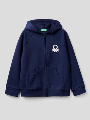 Толстовка темно-синяя с фирменной вышивкой | 5838443