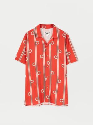 Сорочка червона з принтом   5853644