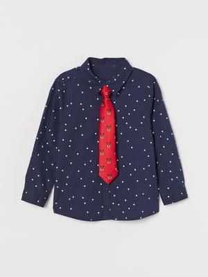 Краватка червона з принтом | 5856006