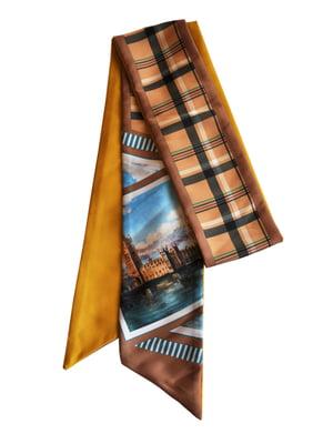 Шарф-краватка коричнева в принт   5860228