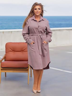 Сукня-сорочка кольору пудри картата   5861438