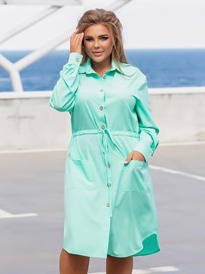 Платье-рубашка мятного цвета | 5861442