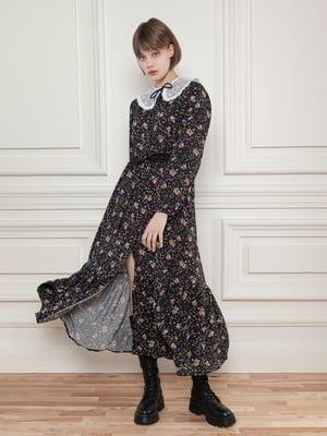 Платье-рубашка черное в цветочный принт | 5866527
