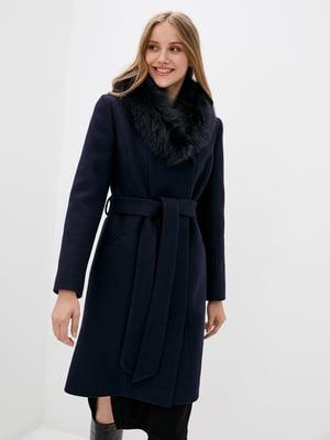 Пальто синее с мехом   5866763