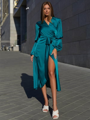 Платье А-силуэта зеленое «на запах»   5866800
